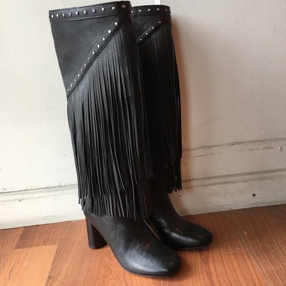 Inc Black Leather Fringe Boots